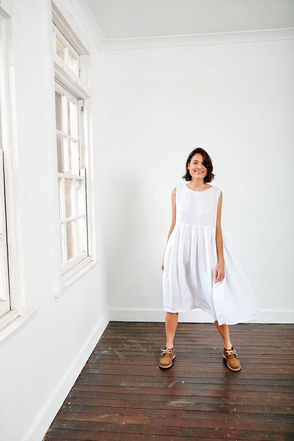 Box Pleated Linen Dress - White