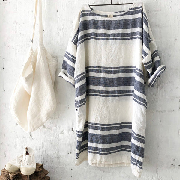 Newport Linen Dress - Navy Stripe