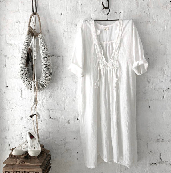 Bronte Linen Dress - White - one off