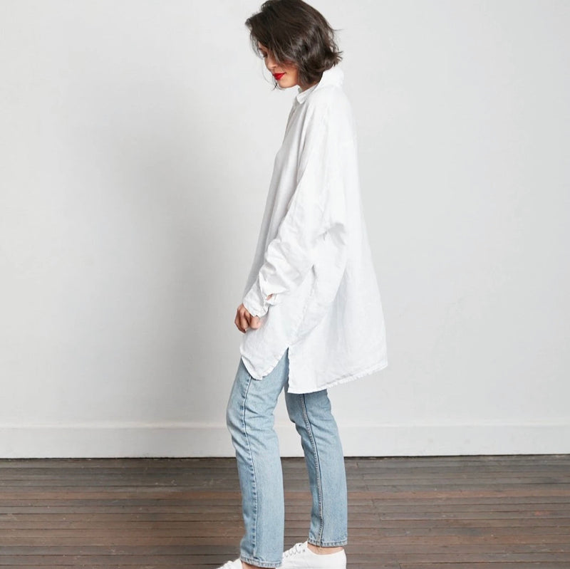 Oversized Boyfriend Linen Shirt - White