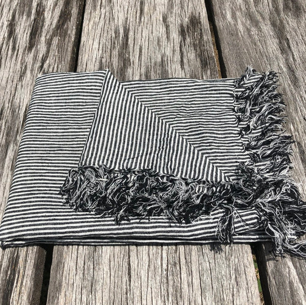 Bath Towel/Throw - Thin Black and White Stripe
