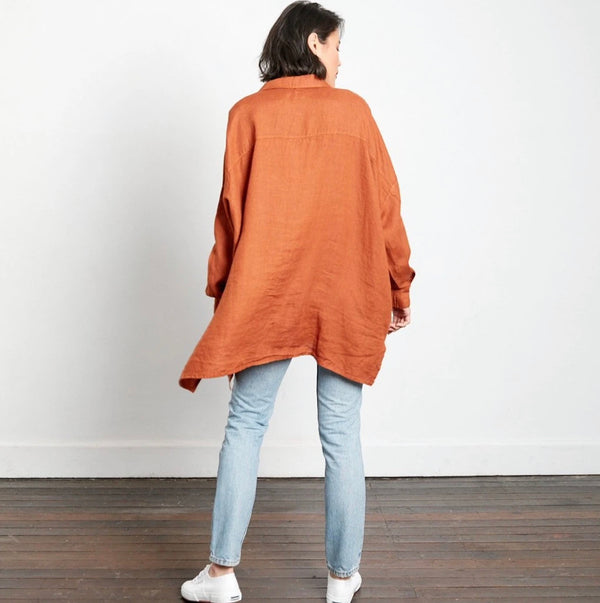 Oversized Boyfriend Linen Shirt - Rust