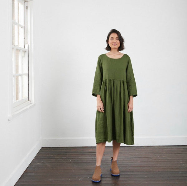 Journee European Linen Dress - Forest Green