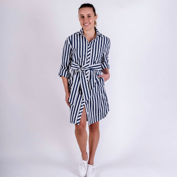 Audrey Dress - Navy Stripe