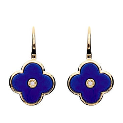 Flower Lappis Blue Enamel and Yellow Gold Earring