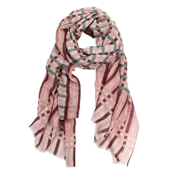 Kipling Check Wool Wrap - Pink