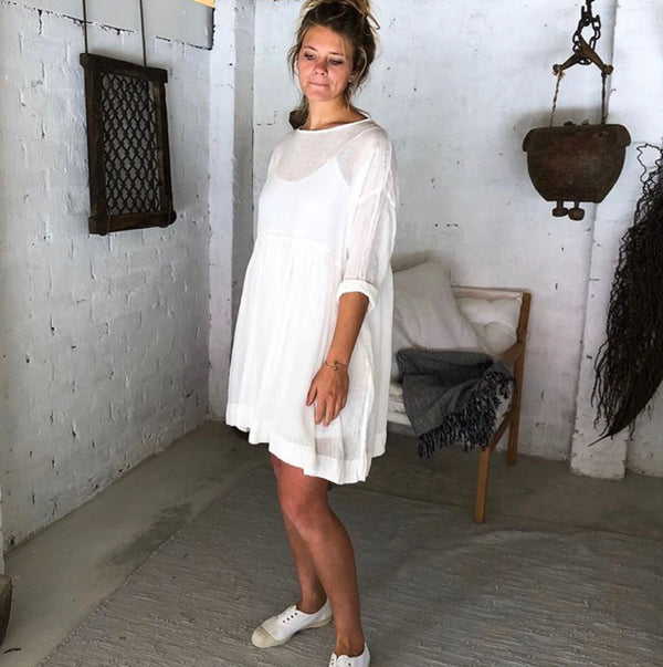 Poppy Linen Dress - White