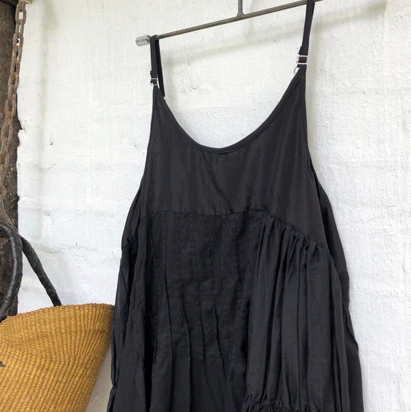 Willow Cotton Silk Slip - Black