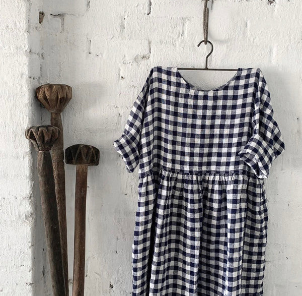 Sarah Linen Dress - Navy and White Gingham