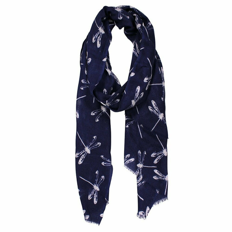 Dragonfly Print Washed Merino Wrap - Navy