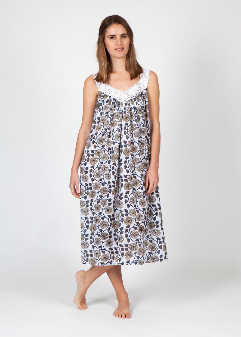 Hand Block Printed V Neck Lace Nightie - Navy/Beige Flower Print