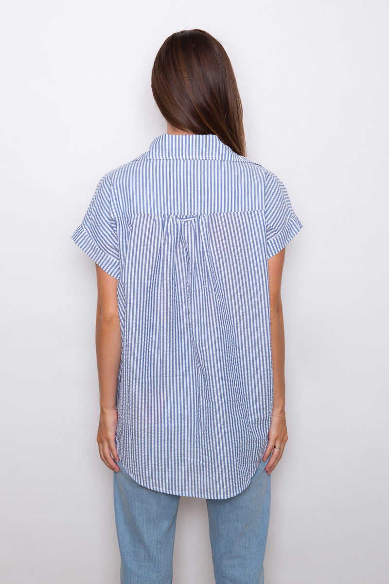 Jane Seersucker Shirt - Indigo/White