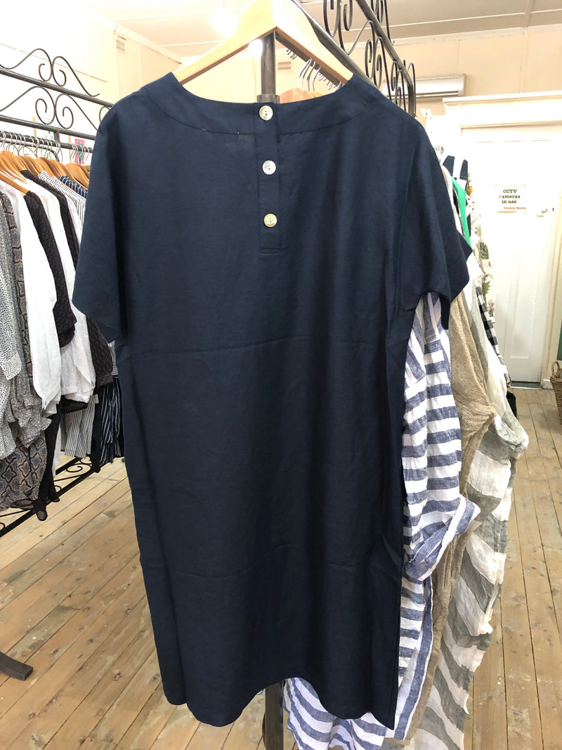 Linen Button Back Shift Dress