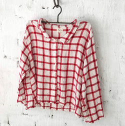 Avery Linen Shirt - White and Red Grid
