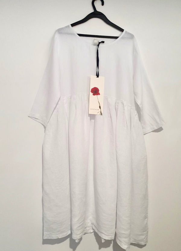 Journee European Linen Dress - White