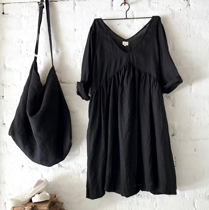 Molly Linen Dress - Black