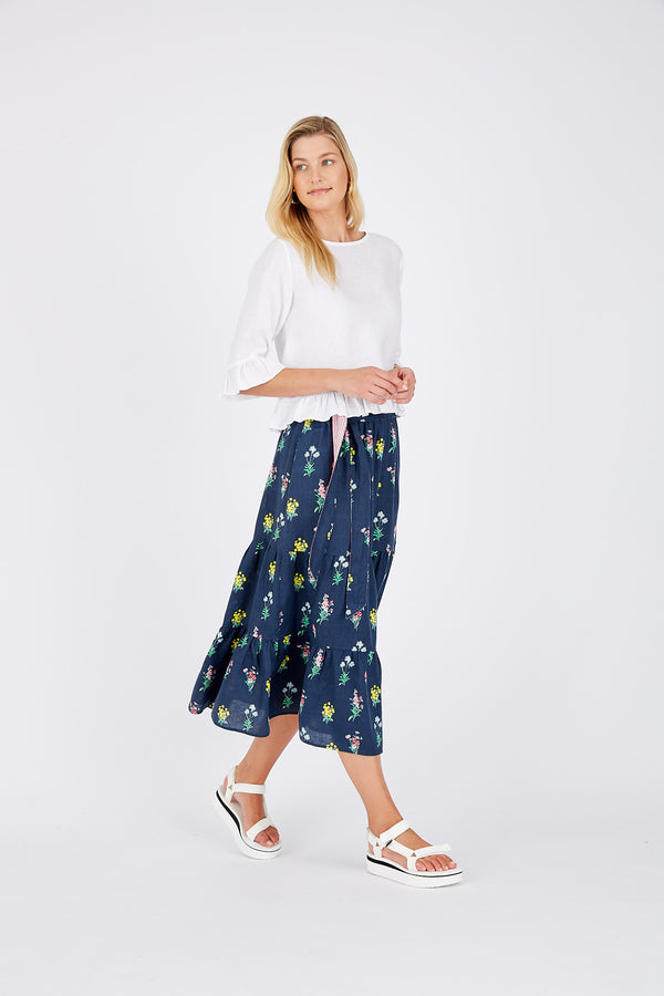 Delilah Skirt with Belt - Navy Floral