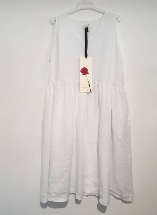 V Neck Linen Dress - White