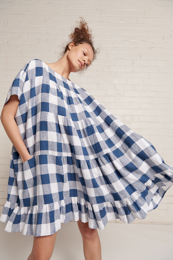 Infinity Dress - Large Gingham Linen