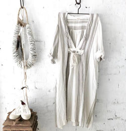 Bronte Linen Dress - Grey & White Stripes - one off