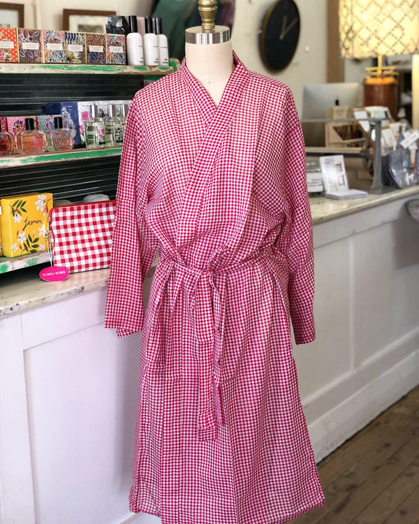 Dressing Gown - Red & White Gingham