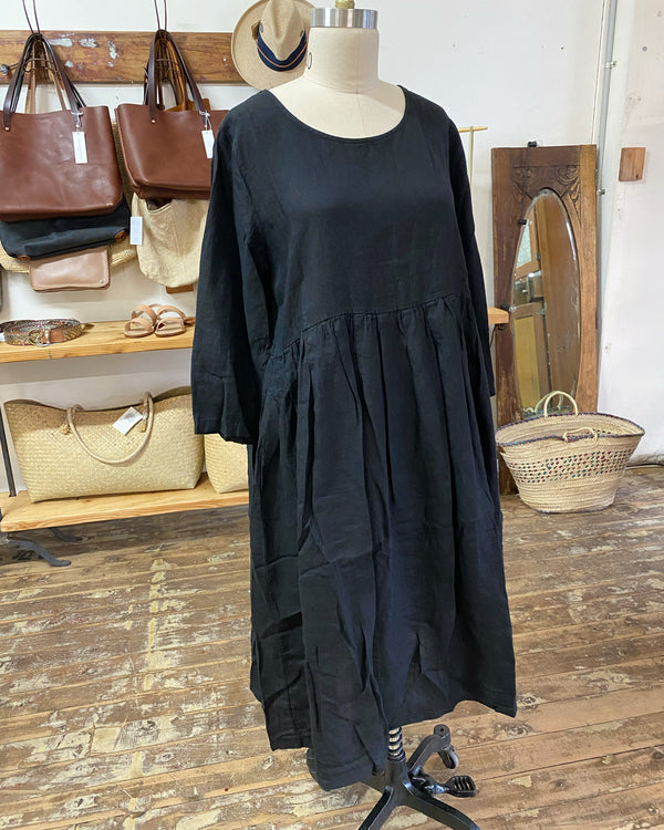 Journee European Linen Dress - Black