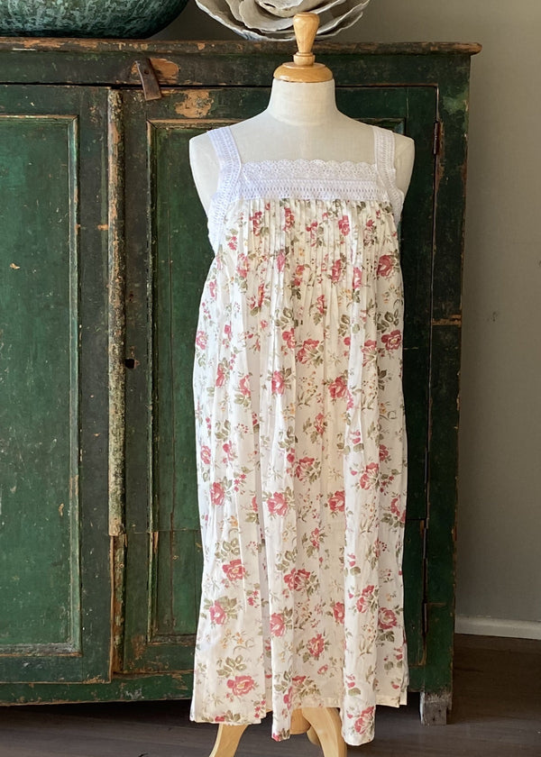Hand Block Printed Lace Nightie - Pink Rose Print