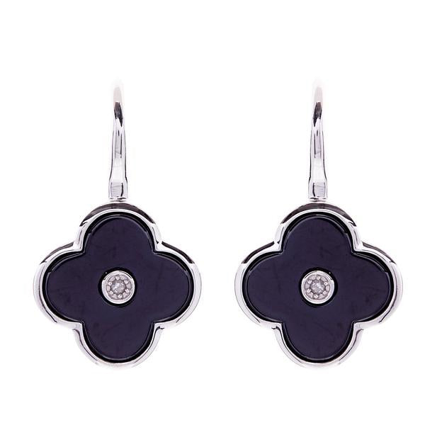 Flower Black Enamel and Silver Earring