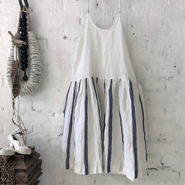 High Tea Slip Dress - Blue and White Nautical Stripe