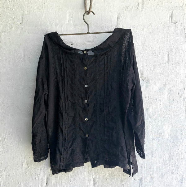 Alice Linen Top - Black