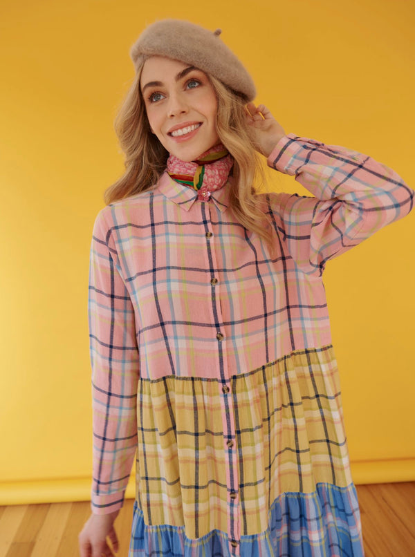 Hazel Dress - Peach Splice Check