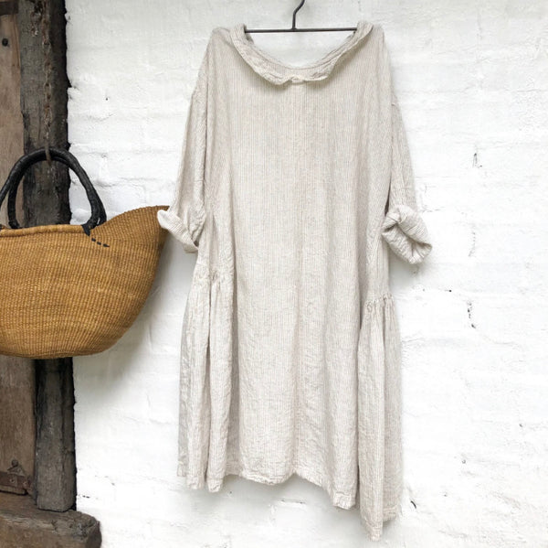 Audrey Linen Dress - Natural and White Stripe