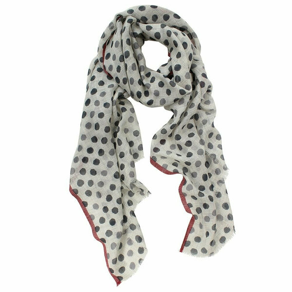 Nolan Wool/Silk Spot Scarf - Grey