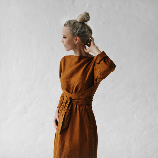 Belted Dress - Mustard