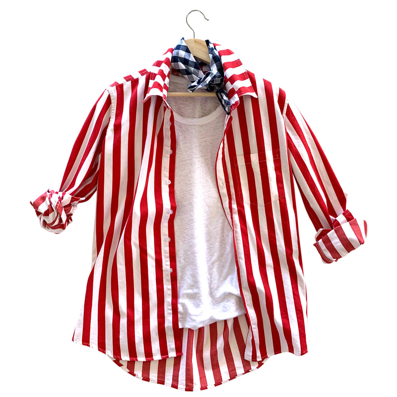 Franklin Awning Stripe Overshirt - Red