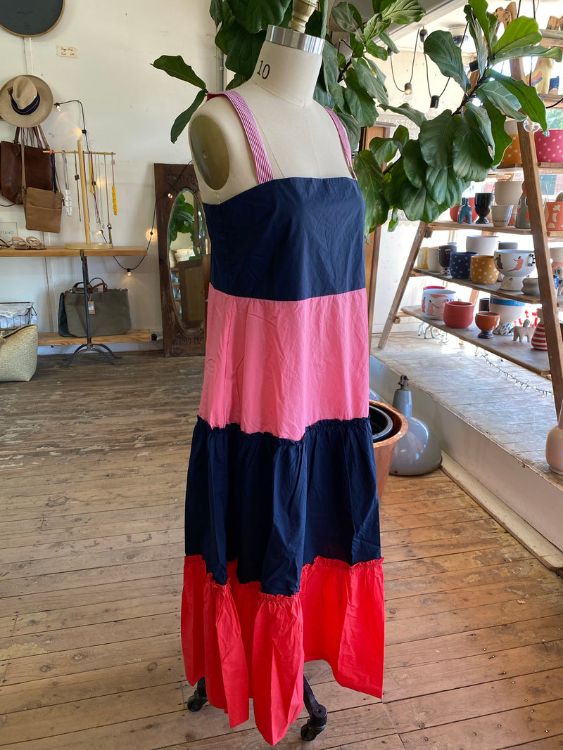 Maxi Pop Dress - Navy/Tomato