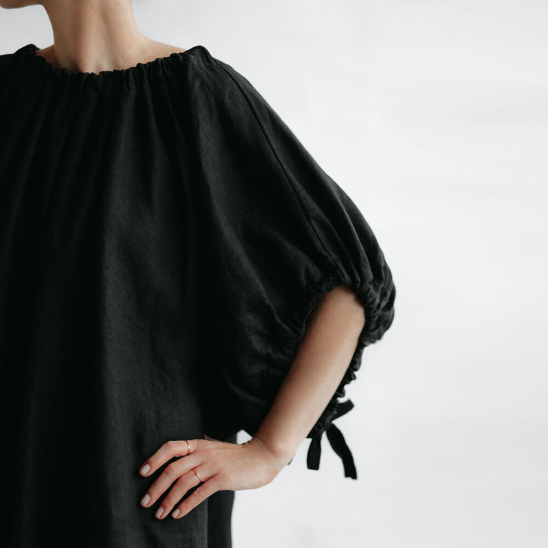 Drawstring Dress - Black