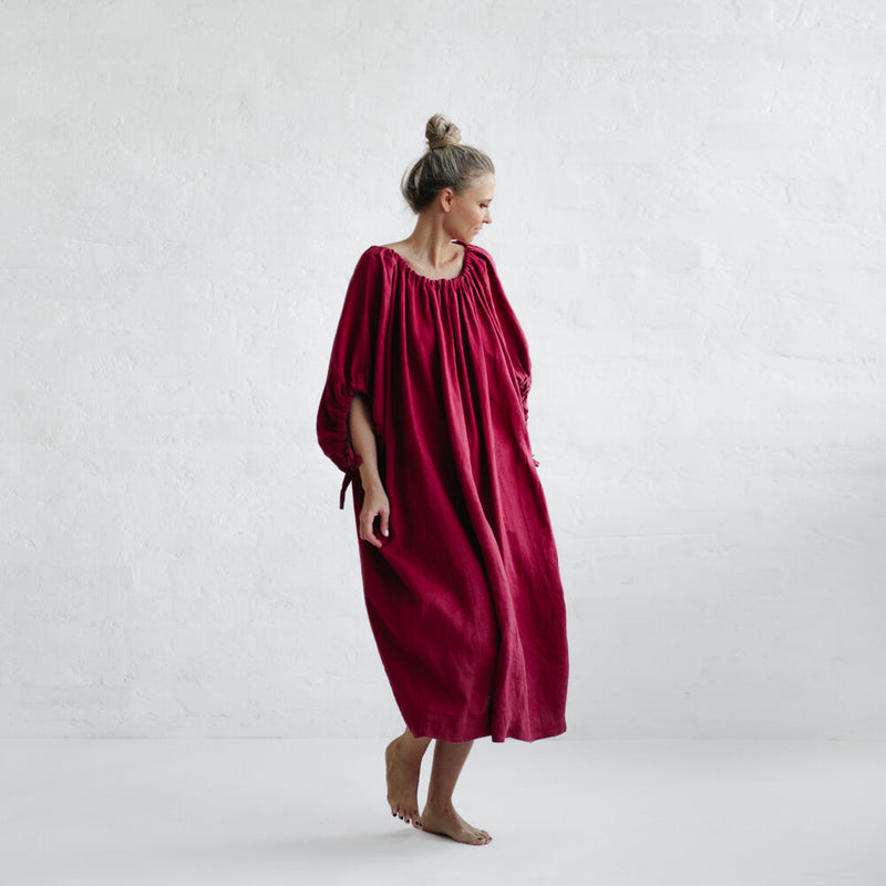 Drawstring Dress - Raspberry