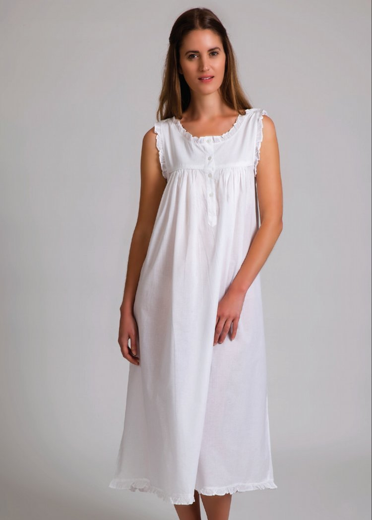 White Nightie with Shoulder Button Opening