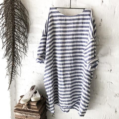 Newport Linen Dress - Blue & White Stripe