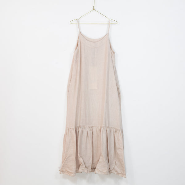 Longline Linen maxi dress with frayed edge - Rose