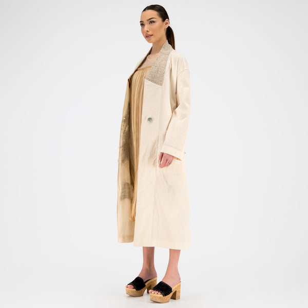 REVERSIBLE LIGHT TRENCH IN RAW COTTON
