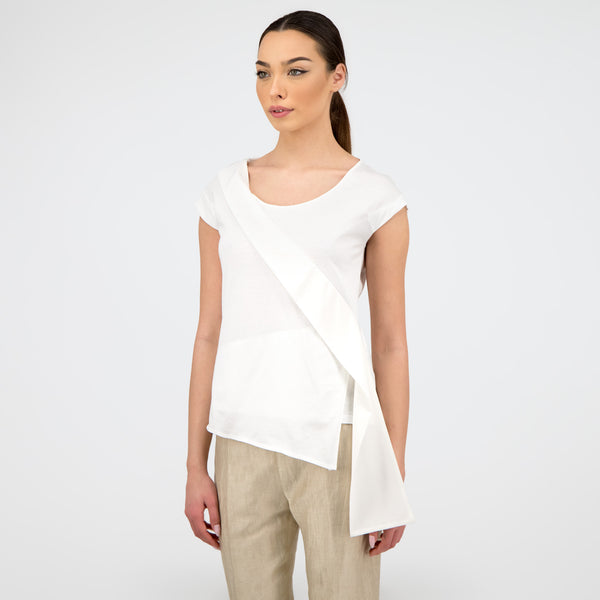Silk Embellished T-Shirt IN WHITE