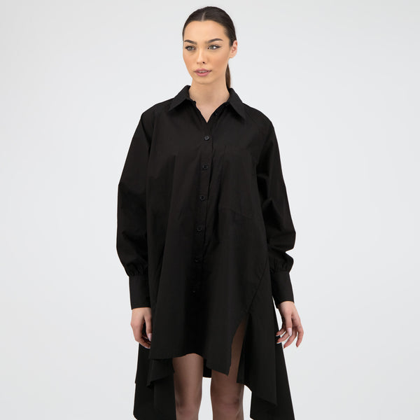 OVERSIZE BLACK SHIRT WITH TIPS PATTERN