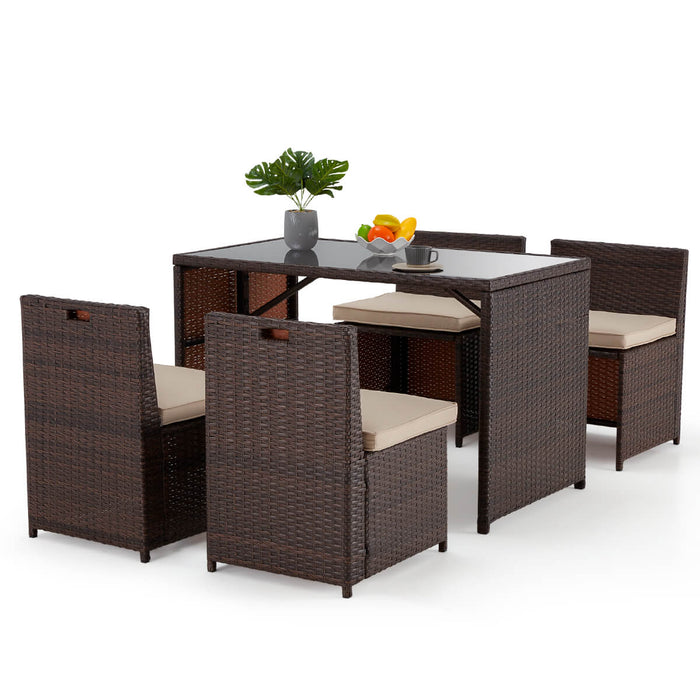5-Piece Erommy Patio Dining Set, Space Saving Rattan Chairs & Table Outdoor Sectional Furniture with Seat Cushion