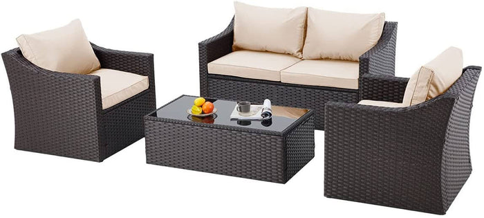 4-Piece Erommy Patio Wicker Sofa Chair Conversation Set with Tempered Glass Tabletop & Cushion