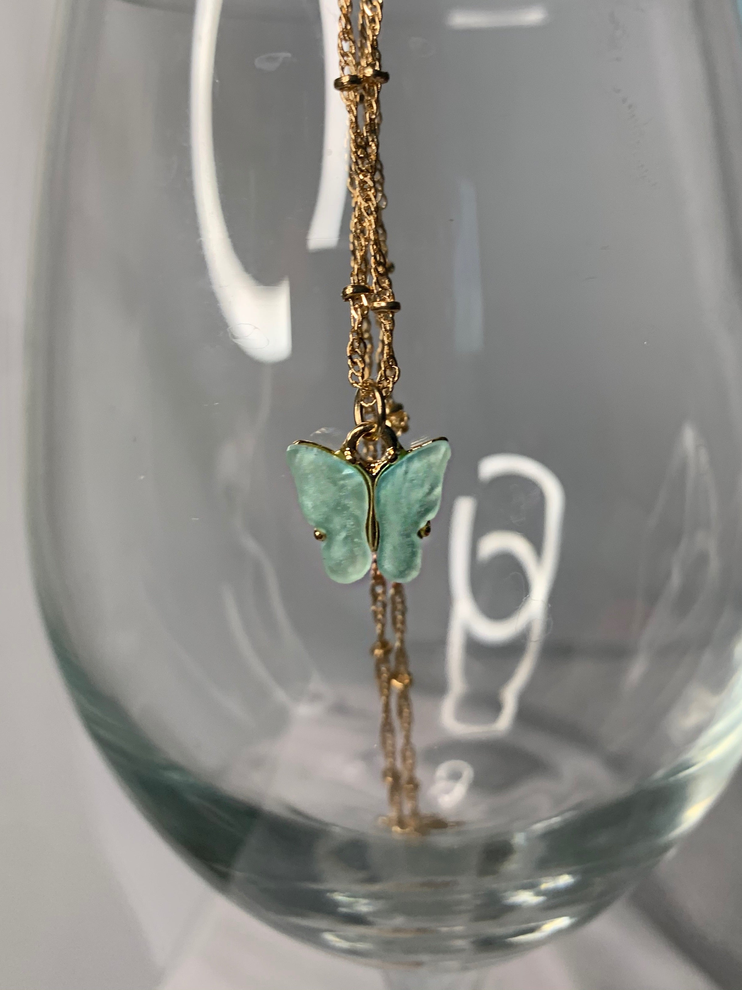 Minty Mariposa Necklace