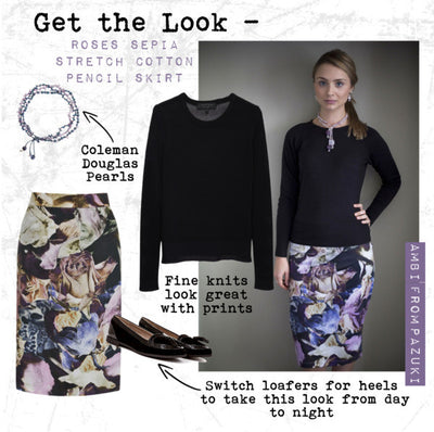 AW14 - Get the Look - Pazuki - Roses Sepia Pencil Skirt