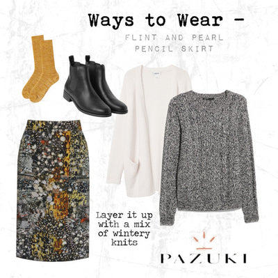 AW14 - Ways to Wear - Flint and Pearl Gold Pencil Skirt