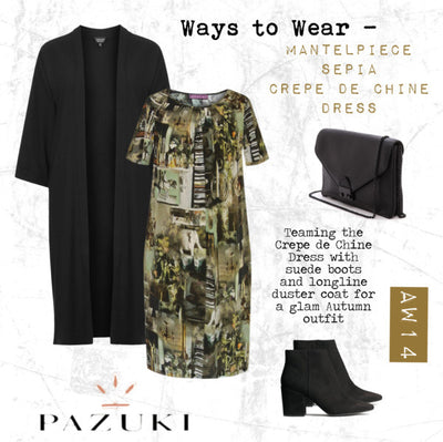 AW14 - Ways to Wear - Pazuki - Mantelpiece Sepia Crepe de Chine Dress
